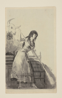 Young woman sweeping
