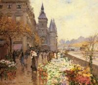 Жорж Штейн. Цветочный рынок вдоль Сены