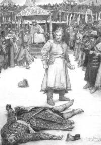 "Fist fight. Illustration to Lermontov's poem ""the Song about Tsar Ivan Vasilyevich, young guardsmen and swashbuckling merchant Kalashnikov"""