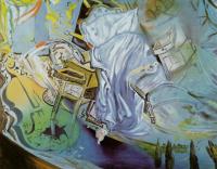 Сальвадор Дали. Кровать и две прикроватные тумбочки яростно нападают на виолончель