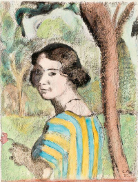 A young woman in a landscape