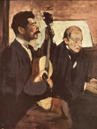 The artist's father listening to Lorenzo pagan playing the guitar