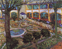 The courtyard of the hospital in Arles