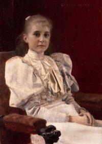 Сидящая юная девушка