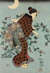 Триптих: три состоятельные женщины среди цветов осенним вечером. Левая часть
