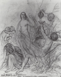 Innocence, leaving the ground. The sketch of the unfinished painting