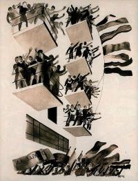 Александр Александрович Дейнека. Весь мир слышит в эти дни тяжелую поступь пролетариата. Иллюстрация из журнала «Прожектор» (1928. № 45)