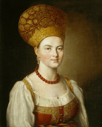 Portrait of an unknown peasant woman in Russian costume. 1784