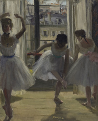 Three dancers in the rehearsal room