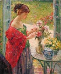 Ричард Эдвард Миллер. Расставление цветов. 1912
