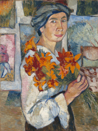 Self-portrait with yellow lilies