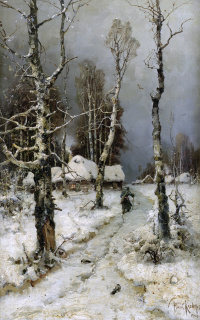 Returning home through a winter forest