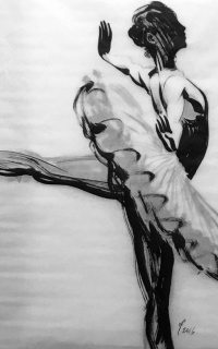 Dancer. 2016 tracing paper, Chinese ink
