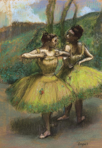 Two dancers in yellow dresses