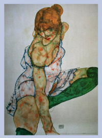 Woman in green stockings