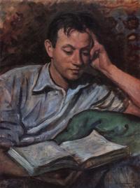 Alexander Serebryakov, reading a book