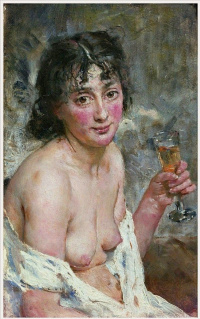 The girl with champagne