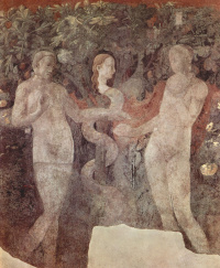 The creation of animals and Creation of Adam. Snippet: Original sin. The cycle of frescoes on the Genesis of the Church of Santa Maria Novella.
