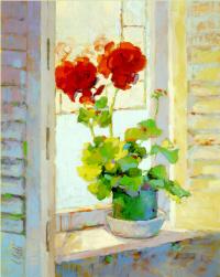 Вики Мак-Мюррей. Красные цветы на подоконнике