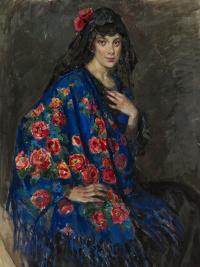 Елена Андреевна Киселева. Портрет неизвестной в шали