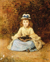 Morning. Portrait of a girl with a kitten