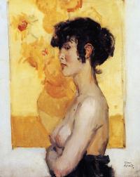Женщина перед подсолнухами Ван Гога
