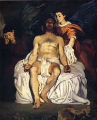 Dead Christ with two angels