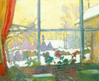 Куно Амье. Герань и зимний пейзаж за окном