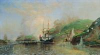 """Алексей Петрович Боголюбов. Атака катера """"Шутка"""" турецкого парохода на Дунае 14 мая 1877 года. 1882"""