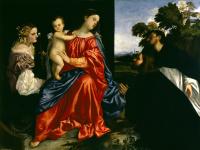 Тициан Вечеллио. Мадонна с младенцем, святой Екатериной и двумя монахами
