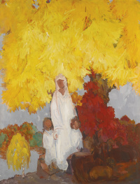 Борис Израилевич Анисфельд. Дерево клена осенью. 1952