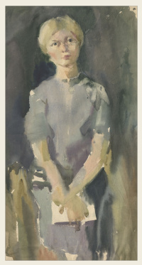 Girl in a gray sweater, 1970