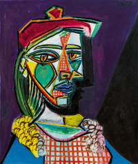 Woman in beret and checked dress (Marie-Therese Walter)