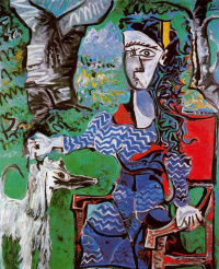 Woman with dog under a tree