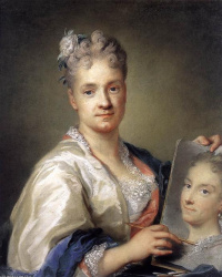 Self-portrait with a portrait of sisters
