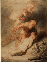 The Angel preventing Abraham from sacrificing his son, Isaac