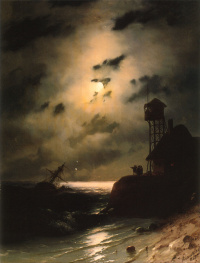 Ivan Aivazovsky. Moonlit seascape with shipwreck