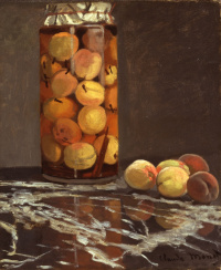 Банка с персиками