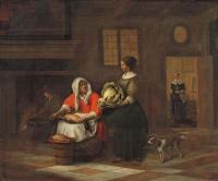 Питер де Хох. Женщина с уткой и девушка с капустой