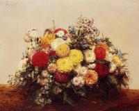 Анри Фантен-Латур. Большая ваза с георгинами и ассорти цветов