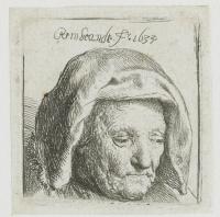 Мать художника в платке, смотрящая вниз