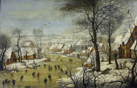Winter landscape with village, ice rink and a trap for birds
