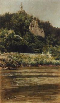 Вид Святогорского Успенского монастыря на реке Северский Донец