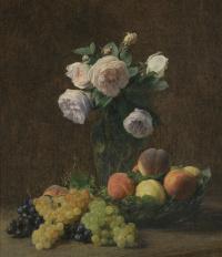 Анри Фантен-Латур. Натбрморт. Ваза с розами, персики и виноград