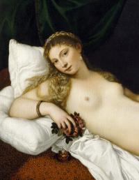 Тициан Вечеллио. Венера Урбинская. Фрагмент