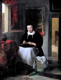 Питер де Хох. Портрет женщины с шитьем