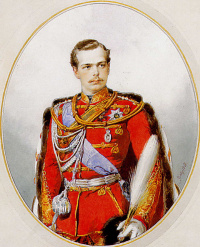 Portrait of Tsarevich Grand Duke Alexander Alexandrovich, the chief of the life guard hussar regiment, the uniform of the regiment. 1868