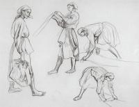 "Zinaida Serebryakova. The four female figures. Sketches for painting ""canvas Whitening"""