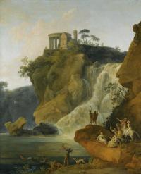 Пьер-Жак Вольер. Водопад в Тиволи с фигурами.