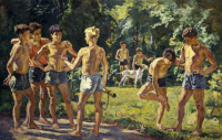In the summer (Day of the Spanish pioneers in the summer camp)